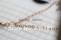 30'' 3mm width rose gold flat cable stainless steel O jumpring chain necklace for floating charm glass locket,no locket
