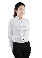 Korean Style Womens OL Long Sleeve V-Neck Blouse Slim Fit Long Shirt Tops Blouse color White 13218