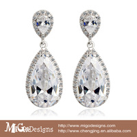 Bridal Wedding Earring 18K Gold Plated AAA Zirconia Big Tear Drop Gold Earrings For Women