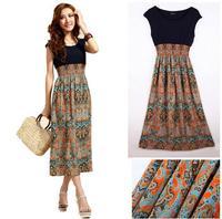 Free Shipping New Womens Lady Vintage Cotton + Chiffon Sleeveless Bohemian High waist Long Dress Orange,Blue,Red