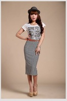 Autumn women long black and white vertical stripes Slim thin package hip skirts vestidos Free shipping