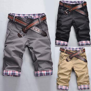 Стильные мужские шорты с оригинальным дизайном с отворотами на брючинах, на поясе ...