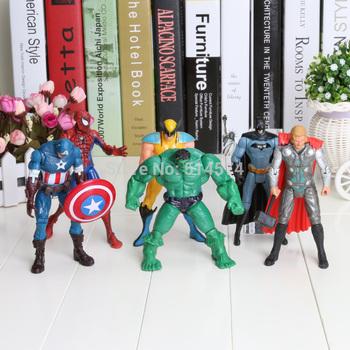 "The Avengers 5"" Captain America Wolverine Thor Spiderman Batman 14cm Action Figures Toy 6 pcs/lot free shipping"