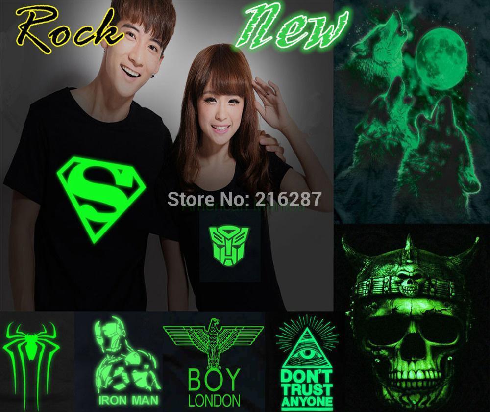 New S-XXXL Men Muscle hip hop Neon Print t shirt/Party&Club Night light Freedom Novelty Rock punk brand hip hop rock t shirt(China (Mainland))