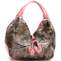 Realtree High Quality Women Leather Handbags Classic Large Camouflage Hobos Bag with Heart Charm Tassels