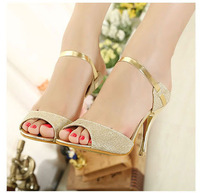 Free Shipping Sexy Women's Pumps Shoes Summer Strappy Heels Sandals Gold and White Color