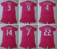PEPE SERGIO RAMOS RONALDO DI MARIA BENZEMA ALONSO JAMES VARANE BALE ISCO Real madrid pink soccer jersey sets (jersey+short) 2015