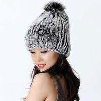 Autumn and Winter Women's Genuine Rex Rabbit Fur Hats with Fox Fur Ball Female Warm Caps Lady Beanies VK1140