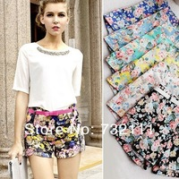 Hot Women Floral Elastic High Waist Pants Shorts Mini Trouser Short Pants