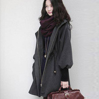 2013 Autumn New Style Sweet Ladies Woolen Coat Puff Sleeves Warm Clothes Free Shipping