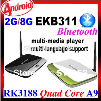 CS918 Android TV Box Bluetooth RK3188 Quad Core Mini pc Google OS 4.4 MK888 2G RAM 8G ROM Wifi RJ45 HDMI HD Media Player EKB311B