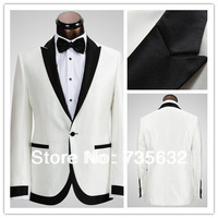 2014 Custom Real  Pictures DHL  Free shipping  new arrival Best White Elegant get married wedding men suit Groom Wear A095