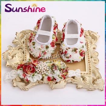 Vintage sapatinho de bebe para bebe sapato menina;girls booties;baby moccasins ;Flower baby Shoes headband set #2B1910 3set/lot