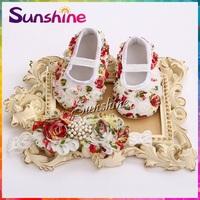 Vintage girl baby booties;sapatinhos para bebe patucos diamond Flower moccasins headband Rosette baby Shoe set #2B1910 3set/lot