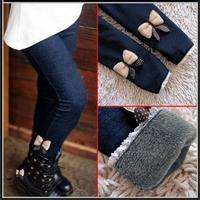 2015 girls bow jeans cotton children cashmere pants kids warm elastic waist legging wholesale and retail