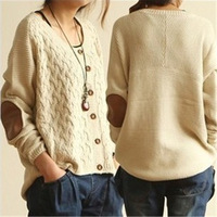 Pretty 1pc/lot Free Size Women's O-Neck Loose Sweaters Patch Gridding Button Knitted Irregular Fall Cardigan 3 Colors 652834