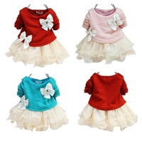 Retail 1PCS free shipping long sleeve fashion knitted baby girl princess pearls bow tutu dress 2014 autumn blue pink red beige