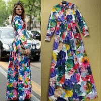 2014 Summer Fashion European Brand Multicolour Involucres Long Sleeve Big Rose Print Women High Street Long Dress Plus Size XXL