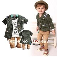 2013 autumn winter children's clothing set cotton coat+T-shirt+pants suit baby boy kids clothes three piece sets Free shiping
