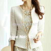 2014 Spring/Summer New Women Elegant Fashion 3/4 Sleeve Slim Linen One Button Suit Blazer/Jacket Coat Formal S/M/L/XL Beige