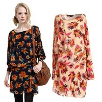 2013 autumn casual classic print Floral Printed vintage Slim long-sleeved one-piece dress women women's female fashion DSC058