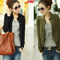 Fashion Short Coat Jacket Women Cardigans Slim Long Sleeve Button Decoration Shoulder Strap Casual Knitted Coat 3 Colors