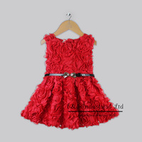 Girls Christmas Flower Dresses Beige Cotton And Polyester Rose Dress With Belt Children 2014 New Year Design Kids Halloween
