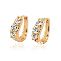 Wholesale CZ hoop earrings #CE0671 Retail fashion jewelry Quality Gold plated yellow gold earrings crystals earring hoops