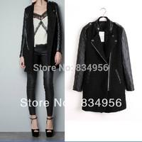 Fashion autumn classic slim leather patchwork wool black wool coat
