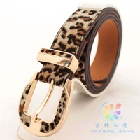 Korean fashion lady brown velvet buckle gold buckle veneer design women's belts candy color leopard women leather belt