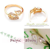 Min Order $10 free shipping Hot 2014 new fashion jewelry  two leaf ring opening ring popular hot rings for women