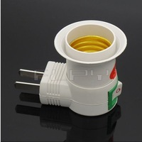 Free shipping,  U adjustableplug AC Power 100-250v to E27 Bulbs Socket Adapter Halogen LED  Light / with On OFF Switch