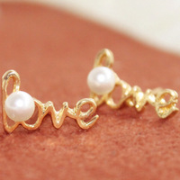 Min Order $10 free shipping Hot new fashion 2014 Retro LOVE chic pearl earrings for women