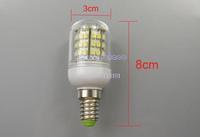 New 3PCS/LOT High Power 50000 Hours Ultra Bright 3W 3528 SMD E14 48 LED light Bulb Lamp Cool White With Cover 200V-240V 2666