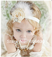 New arrive baby rose flower feather headbands,Girls/Girls/kid's Hairbands,Children hair accessories
