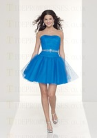 New Cheap 2013 Ladies Open Back Beads Organza Strapless Short/mini Cute Party Cocktail Dresses For Juniors Free Shipping