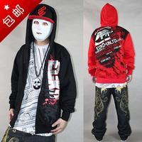 Mens Hoody Thick Fleece Zipper 2014 New RHINO Brand Vintage hiphop Hip Hop Sweatshirt Cardigan Outerwear For Man M-XXL Black/Red