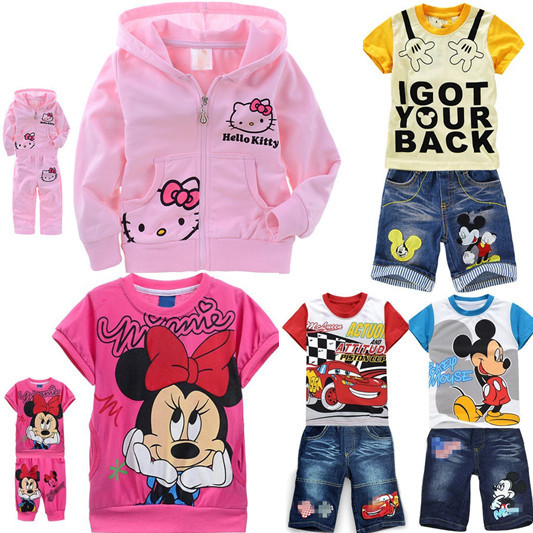 Girls Baby Suit Children's clothing set pink suit kids Hello Kitty KT cartoon cat Shirt+Pants 2Pcs Minnie Mickey Mouse Alince(China (Mainland))