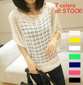 2014 new Autumn winter sweet candy color women loose Crochet knitted blouse wears batwing hollow pullover sweaters top