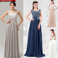 Free Shipping Grace Karin Grey/Blue/Beige/Wheat Formal Evening Dresses Full Length Chiffon Elegant Prom Dress Party Gown CL4473