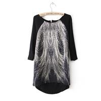 Women fashion cotton blend peacock prints o-neck 3/4 sleeves zipper closure regular tops 214903