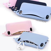 Cute Big Mouth Whale Rubber Card Holder Soft Case Cover For Apple iPhone 4 4S 5G 5S Free  Shipping