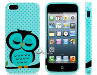 Free Shipping Lovely Blue Sleeping Owl Printed Silicone Glittery Protective Case for iPhone 5 LIP-3769XD