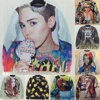 2014 New fashion men Women's animal Leopard wolf print Pullover Funny 3D Sweatshirts Hoodies miley cyrus Galaxy sweaters Tops