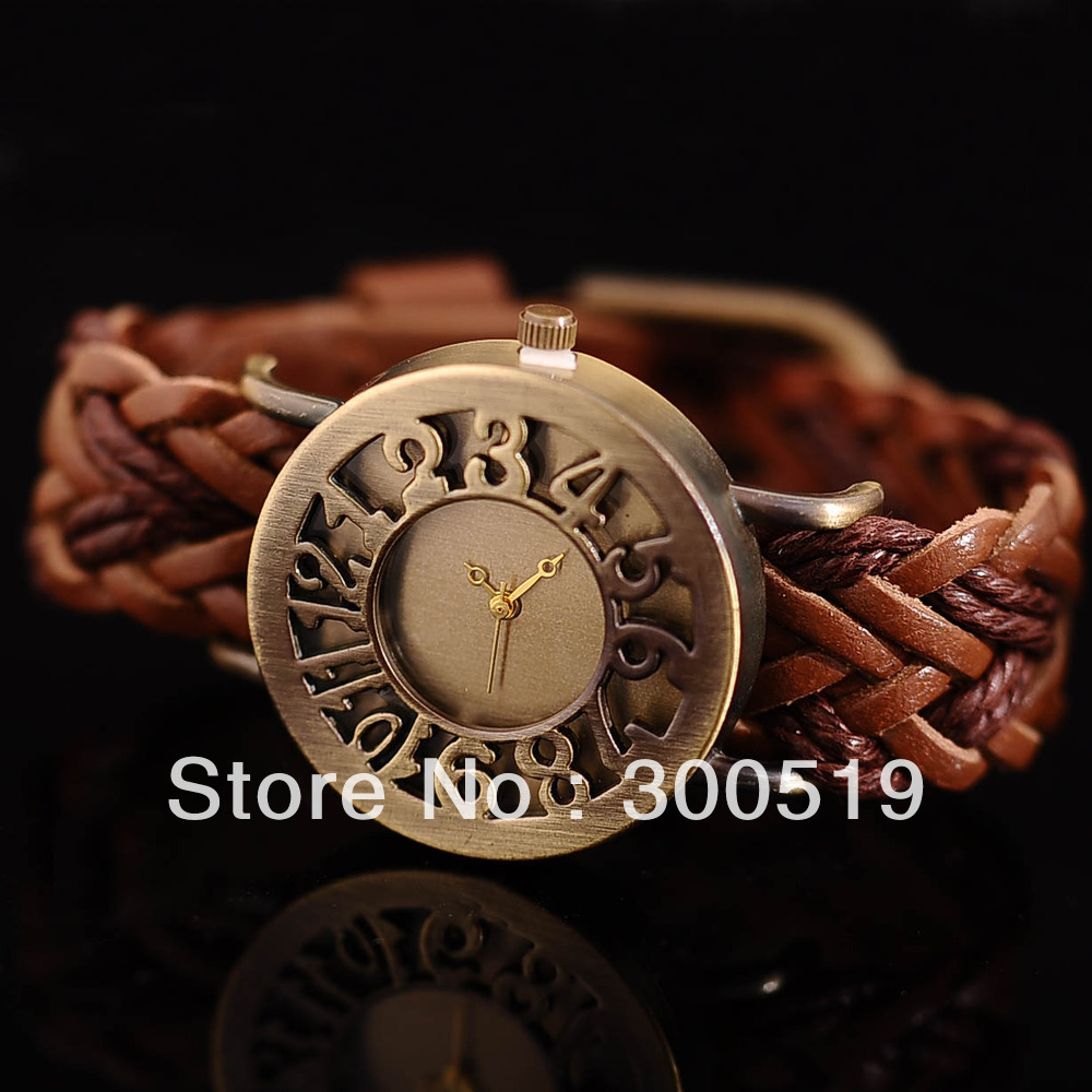 JW191 Retro Braided Bracelet Genuine Leather Band Watch Hollow Characters Watch Woman Dress Watch(China (Mainland))