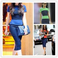 Free shipping,New Chich Women's Summer Patchwork OL contrast stripe zipper back Career Bodycon Pencil Sheath Shift Dresses