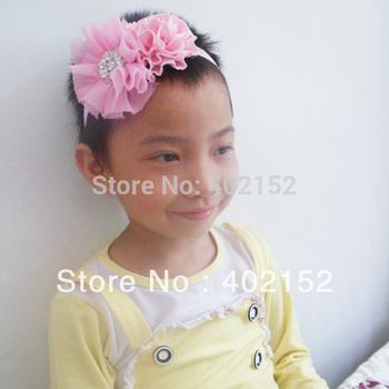 Free shipping!Baby girls Headbands lace mesh chiffon cloth with lovely satin flowers Headbands 60pc/lot rhinestone button flower