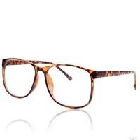 Big Box Plain Glass Fashion  Plain Goggles Over size Plain Mirror Spectacles With Box Leopard