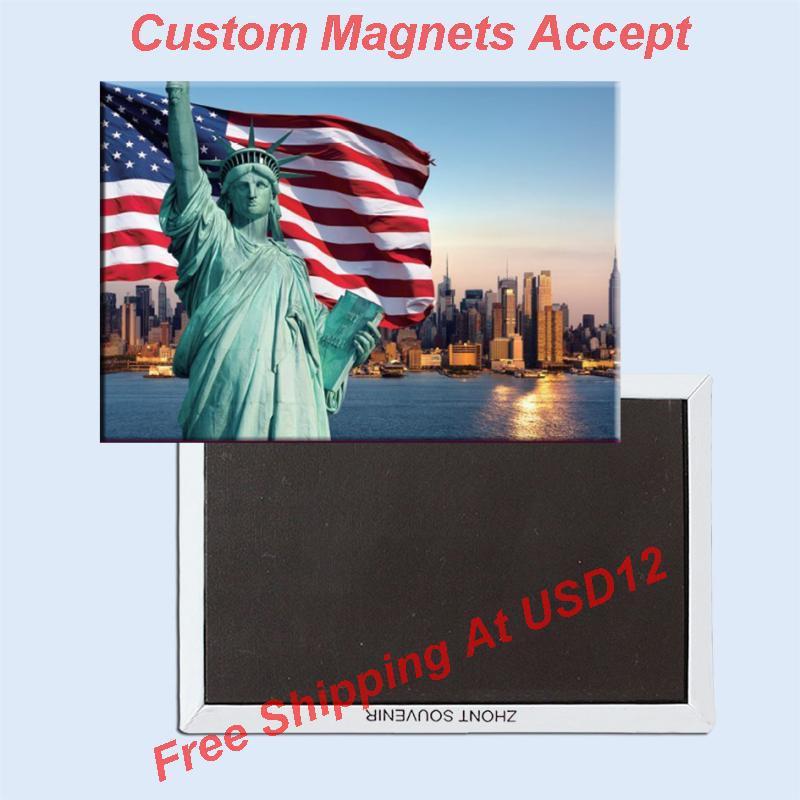 FREE shipping Over Min. Order $12, US New York Statue of Liberty/Flag Tourist Metal Fridge Magnet SFM5167 Travel Memorabilia(China (Mainland))