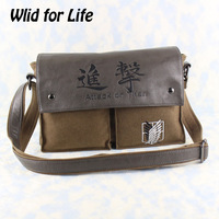 Anime Shingeki no Kyojin/Attack on Titan Scouting Legion Genuine Leather Canvas Shoulder Bag Messenger Bag